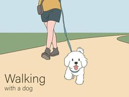 A dog walking with his owner. hand drawn style vector design illustrations.