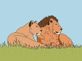 The lioness and the male lion are sitting together. hand drawn style vector design illustrations.