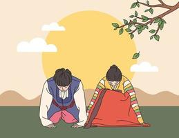 A couple in traditional Korean costumes doing a traditional greeting. hand drawn style vector design illustrations.