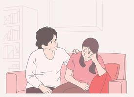 A girl has a serious expression and her mother is comforting. hand drawn style vector design illustrations.