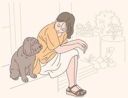 A girl is sitting affectionately in the yard with her dog. hand drawn style vector design illustrations.