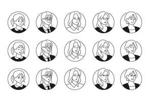 Female face icons with various expressions and styles. hand drawn style vector design illustrations.