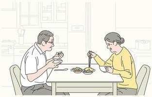 The old couple is eating together. hand drawn style vector design illustrations.