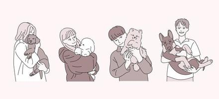 People holding dogs. hand drawn style vector design illustrations.