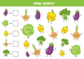 Count cute kawaii vegetables and write down the answer. vector