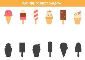 Find the right shadow of cute carton ice creams. vector