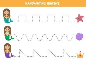 Tracing lines worksheet with mermaids and sea animals. vector