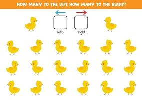 How many ducklings go to the right and to the left. vector