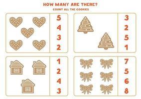 Educational game for kids. Math worksheet. Cute set of gingerbread cookies. vector