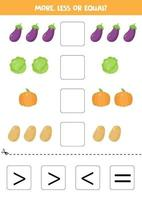 More, less, equal with cartoon eggplant, cabbage, potato and pumpkin. vector