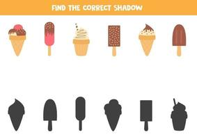 Logical game for kids. Find the right shadow of ice cream. vector