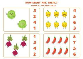 Count cute kawaii vegetables and circle the right answer. vector