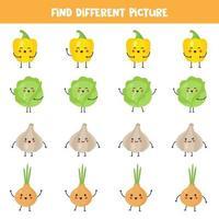 encuentre vegetales kawaii que sean diferentes a los demás en la fila. vector