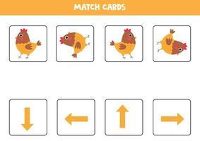 orientación para niños. Coincidir tarjetas con flechas y gallina linda. vector