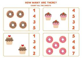 Educational math game for kids. Count donuts and cupcakes. vector