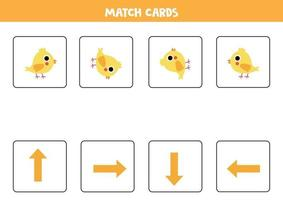 Orientation for kids. Match cards with arrows and cute cartoon chicken. vector