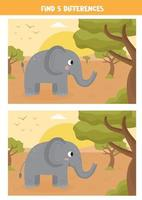 Find five differences between the pictures. vector
