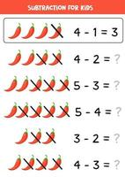 Subtraction for kids. Vector illustration of red chili pepper.