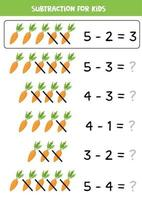 Subtraction with cartoon carrots. Math game for kids. vector