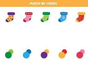 Match socks and colors. Educational game for kids. vector