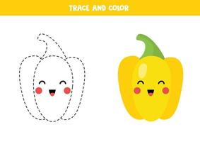 Trace and color cute kawaii yellow pepper. Handwriting practice. vector