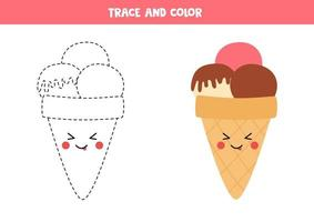 Trace and color cute kawaii ice cream. Coloring page for kids. vector