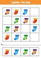 Educational game for kids. Sudoku for children. Cute socks. vector