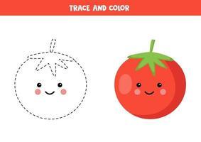 práctica de escritura a mano para niños. traza el tomate rojo y coloréalo. vector