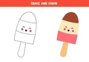 Handwriting practice with cute kawaii ice cream cone. vector