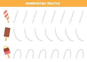 Tracing worksheet for kids with ice creams. Handwriting practice for kids. vector