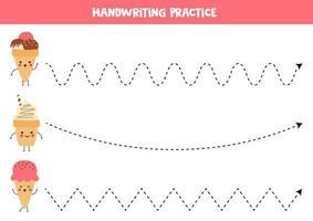 Handwriting practice for kids. Cute kawaii ice creams. vector