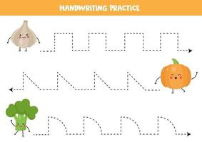 Tracing lines with cute happy kawaii vegetables. vector