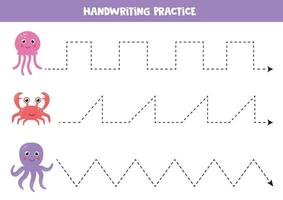 Learning to write with sea animals. Handwriting practice worksheet. vector