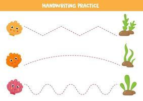 práctica de escritura a mano para niños. conchas marinas de dibujos animados lindo. vector