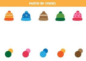 Match cap with correct colors. Logical game for kids. vector
