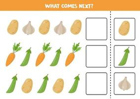 Which vegetable comes next. Logical game for kids. vector
