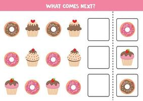 What comes next with cartoon donuts and muffins. vector