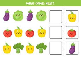 Which vegetable comes next. Educational logical game. vector