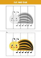 Cut and glue game for kids. Cute Colorado beetle. vector