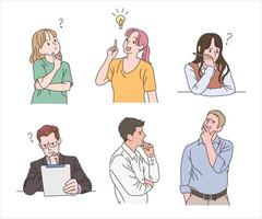 A collection of people contemplating ideas. hand drawn style vector design illustrations.