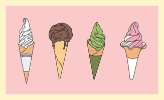 Ice cream cone set. Menu with different flavors. hand drawn style vector design illustrations.
