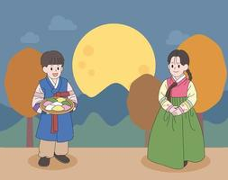 Children characters in hanbok. hand drawn style vector design illustrations.