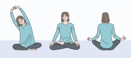 A woman sitting and meditating. hand drawn style vector design illustrations.