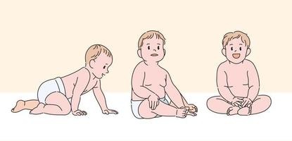 lindo personaje de bebé. ilustraciones de diseño de vectores de estilo dibujado a mano.
