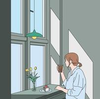 una mujer está sentada junto a la ventana de un café y tomando café. ilustraciones de diseño de vectores de estilo dibujado a mano.