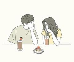 Couple looking at each other affectionately as they eat vector