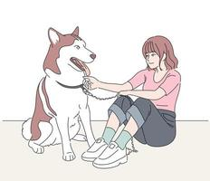 A girl and a dog are sitting together. hand drawn style vector design illustrations.