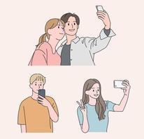 personas que toman fotografías con sus teléfonos móviles. ilustraciones de diseño de vectores de estilo dibujado a mano.