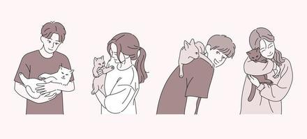 People are holding cute cats. hand drawn style vector design illustrations.