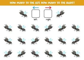 Left or right with cute gnat. Logical worksheet for preschoolers. vector
